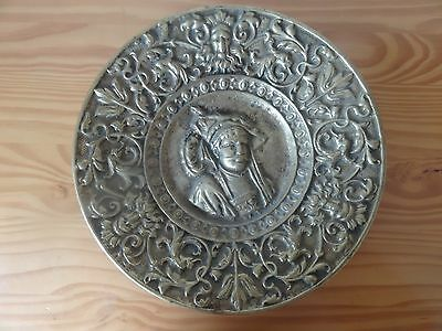c.18th - Antique French France Heavily Bronze Gilded Bust Portrait Plate