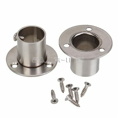 2x Stainless Steel Closet Hanging Flange Rod for 22mm Closet Clothes Rail Pole