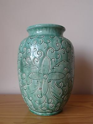 c.18th - Antique Chinese China Celadon Porcelain Floral Pot Vase in Ming Style
