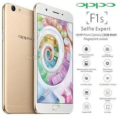 "New Unlocked OPPO F1S Gold 5.5"" IPS LCD Dual SIM 4G LTE Android Mobile Phone"