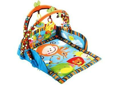 3 in 1 Baby Gym Monkey Animals ,Kick, Lay & Play Toddler Activity Mat Blanket