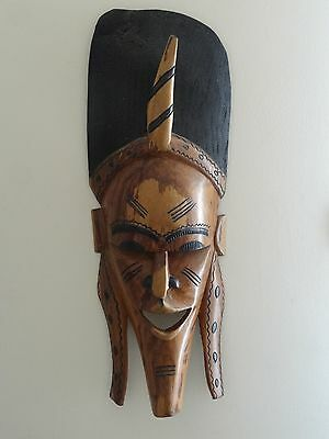 c.20th - Vintage African Africa Wood Wooden HUGE Wall Mask - hand carved