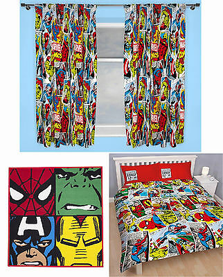"Marvel Comics Justice Double Duvet Cover Bedding 66""x54"" Curtains Rug 3 Choices"