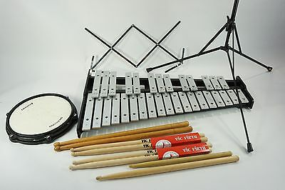 32-Key Ludwig Percussion Xylophone + Practice Pad Rolling Case Sticks Mus Stand