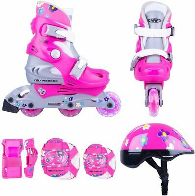 Kinder Inline Skates Set Polly LED Gr. 26-29, 30-33 verstellbar Schutzset + Helm