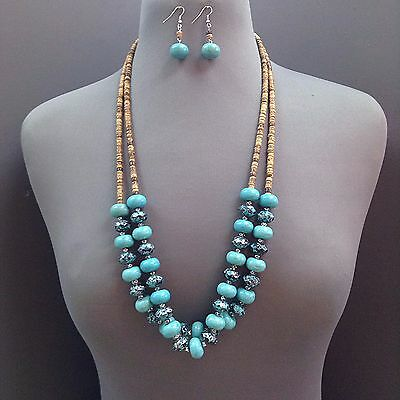 Unique Vintage Stylish Turquoise Brown Wooden Beaded Double Layered Necklace