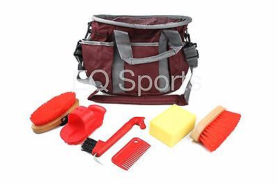 FREE P&P SUPER VALUE!! Kids/Child Grooming Kit Bag & Accs Burg With Red Accs