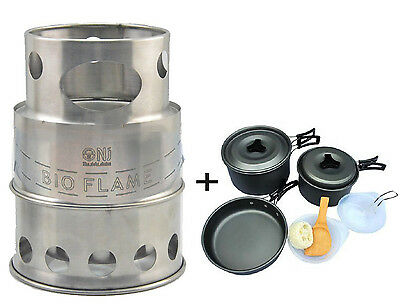 Outdoor Wood Stove Stainless Steel Portable Survival Camping + 8pcs Cooking Set