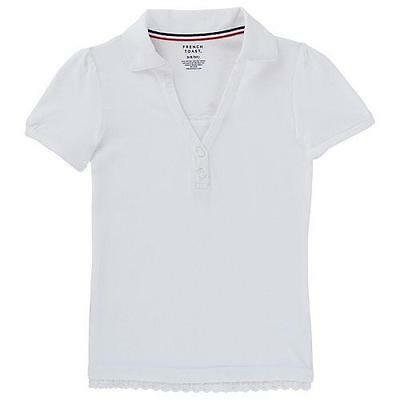 French Toast School Uniform Girls Short Sleeve Polo Shirt with Lace Trim
