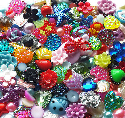 200 Mix Resin Embellishments Flatback Cabochons Flower Heart Bow Star Half Pearl