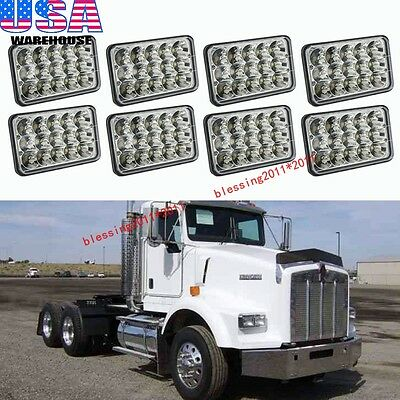 8PCS LED Headlights For Kenworth T400 T600 T800 W900L W900B Classic 120/132 AAAA