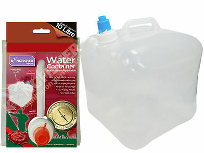 2 x 10L Fold Away Collapsable Camping Water Carrier Storage Containers with Tap