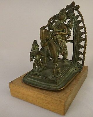 """Antique India solid bronze/brass group of Shiva on horseback with Parvati. 4 ¾"""""""
