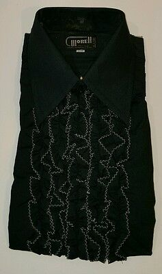 Morell Black Vtg 1970's Ruffled Cuffs Embroidered Tuxedo Tux Shirt 16.5-33 NEW