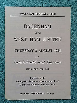 1984 - DAGENHAM v WEST HAM PROGRAMME - FRIENDLY