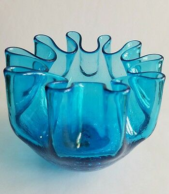 PILGRIM #60 / KANAWHA  Blue Crackle Glass Rose Bowl Vase Crimped Vintage MCM