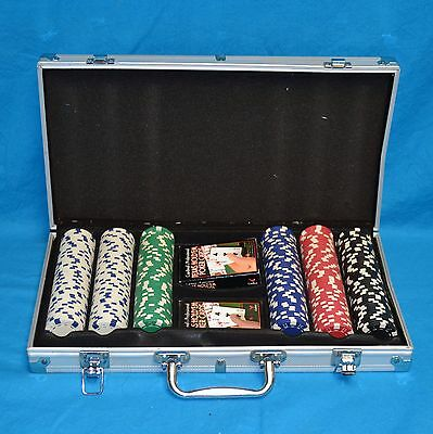 400pc Poker Chip Set with Aluminum Case & Texas Hold 'Em Playing Cards