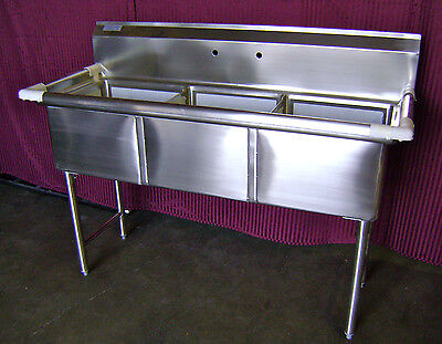 NEW 18X18 Well 3 Compartment Sink NO Drainboards Stainless Steel NSF #2088