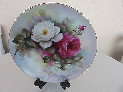 Limoge Plate Green/White and Pink Hand Painted Flowes Signed by Artist