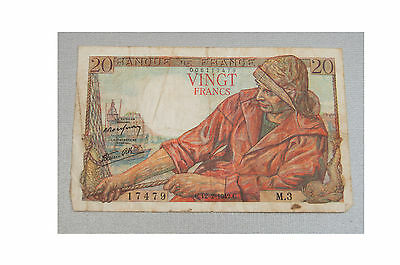 1942 Banque of France 20 Vingt Francs Note