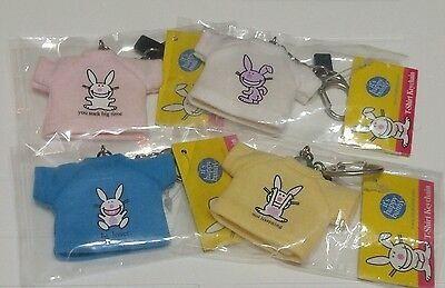 It's Happy Bunny T-Shirt Keychains Set 0f 4 Keyrings Bunnies by Jim Benton