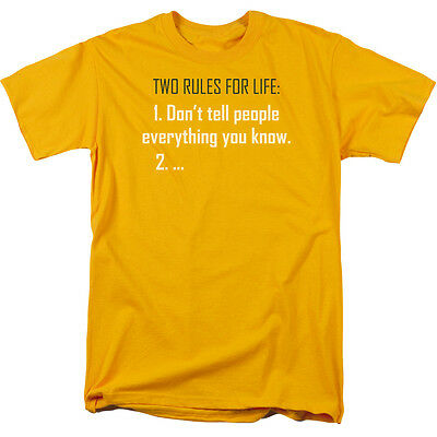 TWO RULES FOR LIFE Humorous Adult T-Shirt All Sizes
