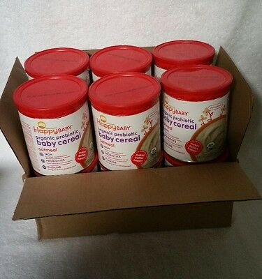Happy Baby Organic Probiotic Baby Cereal Oatmeal 6 Pack