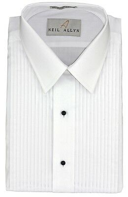 New Fashion Mens Neil Allyn White Laydown Collar Pleated Tuxedo Shirt Sz 2XL