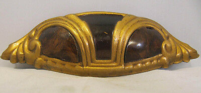 Vintage Art Deco Waterfall Faux Burled Wood Gold Drawer Pull