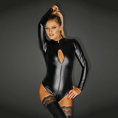 NOIR Handmade - DIVA - F134 - Powerwetlook Body Suit with 3-Way Zipper