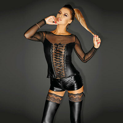 NOIR Handmade - DIVA - F130 - Powerwetlook Corsage with Lacing and Tulle