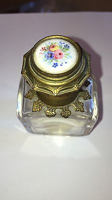 Wonderful Ornate Antique French Glass Perfume Bottle With Flip Top & Flowers