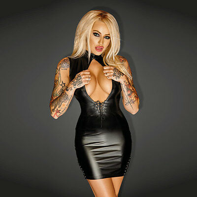 NOIR Handmade - DIVA - F127 - Powerwetlook Minidress with Leather and Lacing