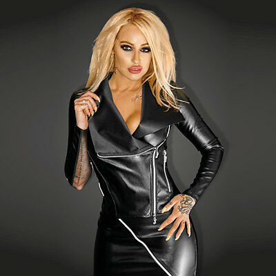 NOIR Handmade - DIVA - F123 - SNOBBISH Ecoleather Jacket with Silver Zippers