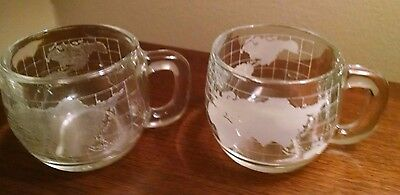 Set of 2 Vintage 1970's Nestle Nescafe etched Glass Coffee Mug Cup