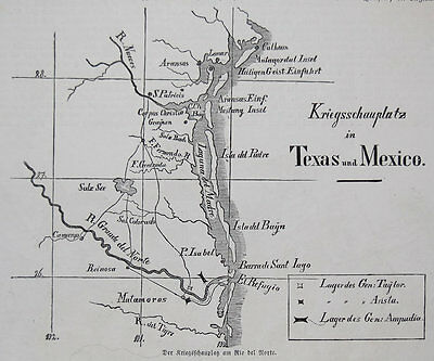 1846 ORIGINAL Map, Mexican American War, situation Of Forces in Texas, RARE