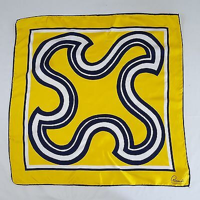 Vintage Ricardo Silky Polyester Bright Yellow & Navy Abstract Square Neck Scarf