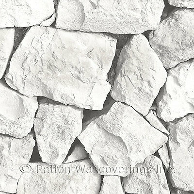 White Uneven Stacked Stone / Rock Wallpaper LL36216