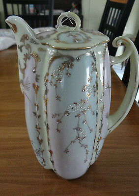 Vintage Chocolate Pot Beautiful Pastel Colors Hand Painted Flower Blossoms