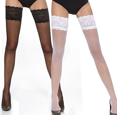 Sensuous Sheer Hold-Ups Stockings with  Deep Lace Top 20 Denier Sizes S-L