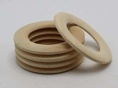 10 Natural Untreated Plain Wooden Big Round Donut Ring Beads 59mm