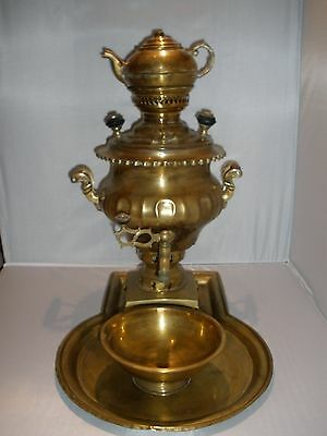 "Antique Samovar Russian Coffee/tea Water Warmer Copper/brass Approx 17""t"