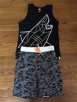 Old Navy Boys Swim Trunks & Tank Top Size M / 8 Black White Shark