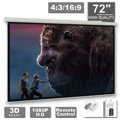 "72"" Motorised Projection Screen Projector 16:9 4:3 Home Cinema 3D HD Matte White"