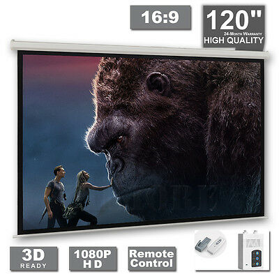 "120"" Electric Projector Projection Screen Motorised Remote Home Cinema PURE 16:9"