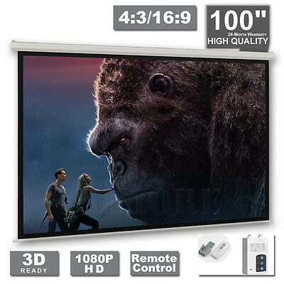 "100""inch Projector Screen 4:3 16:9 White Cinema Motorised Remote Matte DVD TV HD"