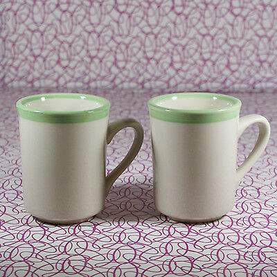 Pair Vintage Rego Stoneware Diner Coffee Mugs Green and Beige #C687-SG