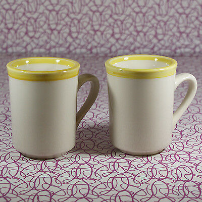 Pair Vintage Rego Stoneware Diner Coffee Mugs Yellow and Beige #C687-SC