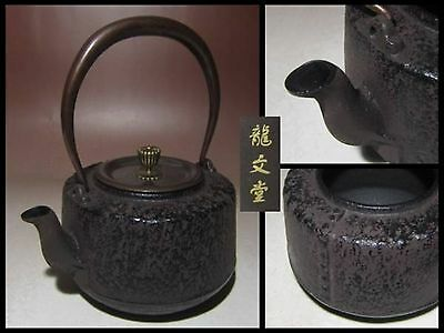 Japanese Ryubun-do Antique old Iron Tea Kettle Tetsubin teapot Chagama #4262