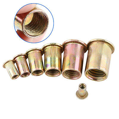 20/100pcs M3 M4 M5 M6 M8 M10 M12 Flat Head Threaded Rivnut Insert Nutsert Newest